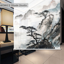 MOMO Ink Painting Window Curtains Roller Shades Blinds Thermal Insulated Blackout Fabric Custom Size, Alice 211-216