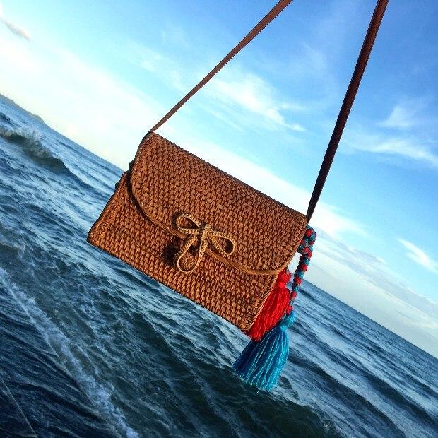 Bali Bohemia Beach Circle Bag Island Hand Woven Bag Square Butterfly buckle Rattan Straw Bags Satchel Wind  bag<br>