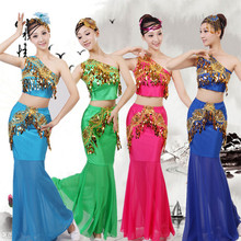 New 2017 Plus Size Women Adult Indian Bollywood Dance Costume Sexy Belly Dance Costume Set Suit Long Belly Mermaid Skirt Top Set