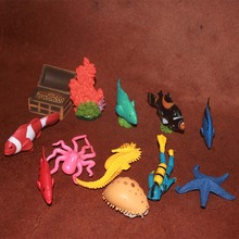 solid pvc figure simulation model toy gift marine animals tropical fish coral divers Database 12pcs/set(China)