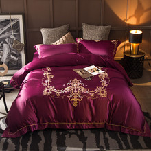 Golden embroidery 4pc wedding bedding set Royal 100% silk bedclothes king queen size Duvet/quilt covers bed sheet sets