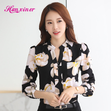 Buy Women blouses Fashion Casual long sleeved Spring shirts New 2017 Printing Elegant slim chiffon blouse plus size women clothing for $10.74 in AliExpress store