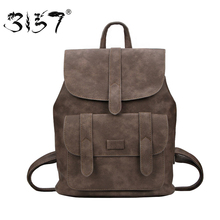 3157 Fashion Women PU Leather Backpack New Design School Bags for Teenage Girls High Quality Solid Vintage Casual Female Bag(British Indian Ocean Territory)