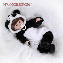 17inches lifelike precious panda doll reborn baby soft silicone vinyl real touch doll lovely newborn baby(China)
