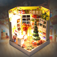 DIY House Furniture Miniature Kit 3D Wooden Dollhouse Room with Furniture LED Dustproof Cover for Christmas Romantic Kids Gift(China)