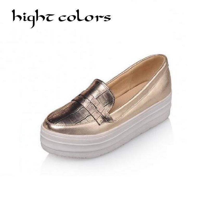 HIGHT COLORS Women Flats Platform Shoes Woman Slip On Espadrilles Platform Loafers Silver Gold Creepers Women Casual Shoes(China (Mainland))