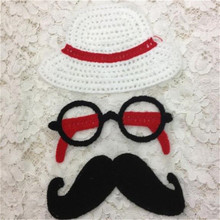 Fashion clothes patch 28cm hat glasses beard applique embroidery flower patches for clothing sticker patchwork free shipping