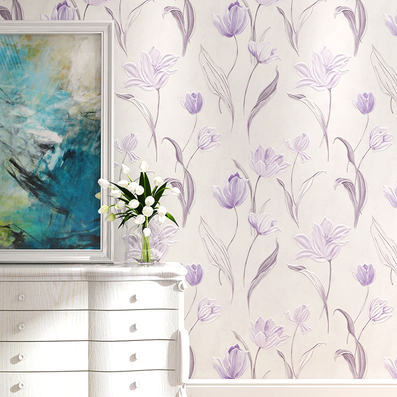 Modern Non-woven Wallpaper 3D three-dimensional Large Flower Bedroom Living Room TV Backdrop Simple Warm Tulip Wallpaper <br>