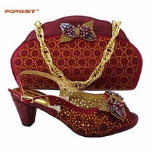 Wine color comfortable heel manual paste with crystal shoes Italian shoes and bag matching set clutch bags African shoes and bag