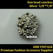 (KBE04) Wholeslae 50pc Metal Concho Western Lion-head Concho Leathercraft Silver