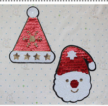 10pcs/lot Christmas decoration Sew on Embroidered patches for clothes sequins DIY Motif Applique Free shipping