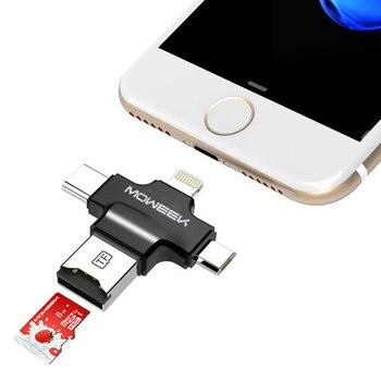 Moweek 4 en 1 tipo c/lightning/micro usb/usb 2.0 lector de tarjetas de memoria lector de tarjeta sd micro para android ipad/iphone 7 otg lector