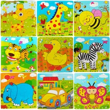 Toys for Children Cartoon Animal Car Wood Puzzle 3D Jigsaw Puzzle Kid Brain Training