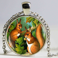 Vintage Squirrel Art Bijoux Squirrel Pocket Necklace Woodland Animal Lover Gift, Gass Dome Necklace(China)