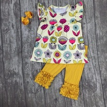 new arrivals baby girls summer outfits floral top ruffle with capri pants boutiques cotton clothes with accessories kids wear(China)