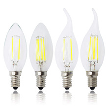 2017 C35 C35L E14 Retro Candle Lamp 220V Bulb Dimmable LED COB Filament Light Replace CFL 10W 15W 20W glass chandelier lights(China)