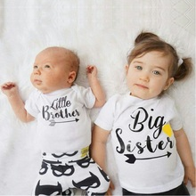Big Sister Baby Girl's T-Shirts Cotton Infant Tees Shirt Little Brother Toddler Tops Baby Clothes Girl T Shirt Children Jersey