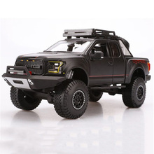 1:24 Scale Alloy Diecast Car toy 1/24 Black 2017 Ford F-150 SVT Raptor PICKUP Truck Model Car Kids Toys gift for children(China)