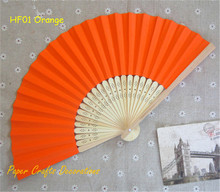 "8.25""=21cm Orange Chinese/Japanese Paper Folding Hand Fans Outdoor Wedding Favors Party Supplies 10pcs/lot"