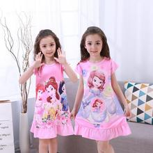 2017 Newest fashion Dress Children Clothing Summer Dresses Girls Baby Pajamas Costume Princess Nightgown cartoon cotton Clothes