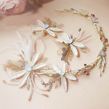Florist Rhinestone Feather Dragonfly Pattern Headband Bridal Wedding Jewelry Hair Accessories Hair Crown For Women Gift M869(China)