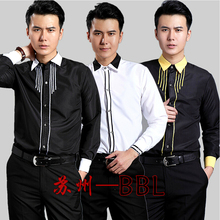 2016 Men Stage Performance Chorus Dance Host Shirts Photograph Male Long Sleeved Costumes Singer Show Shirts White/Black W478(China)