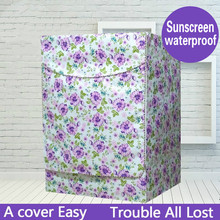 Fashion Purple Floral Washing Machine Cover Protective Case Bathroom Waterproof Sunscreen Washer dryer and cover fully-automatic(China)