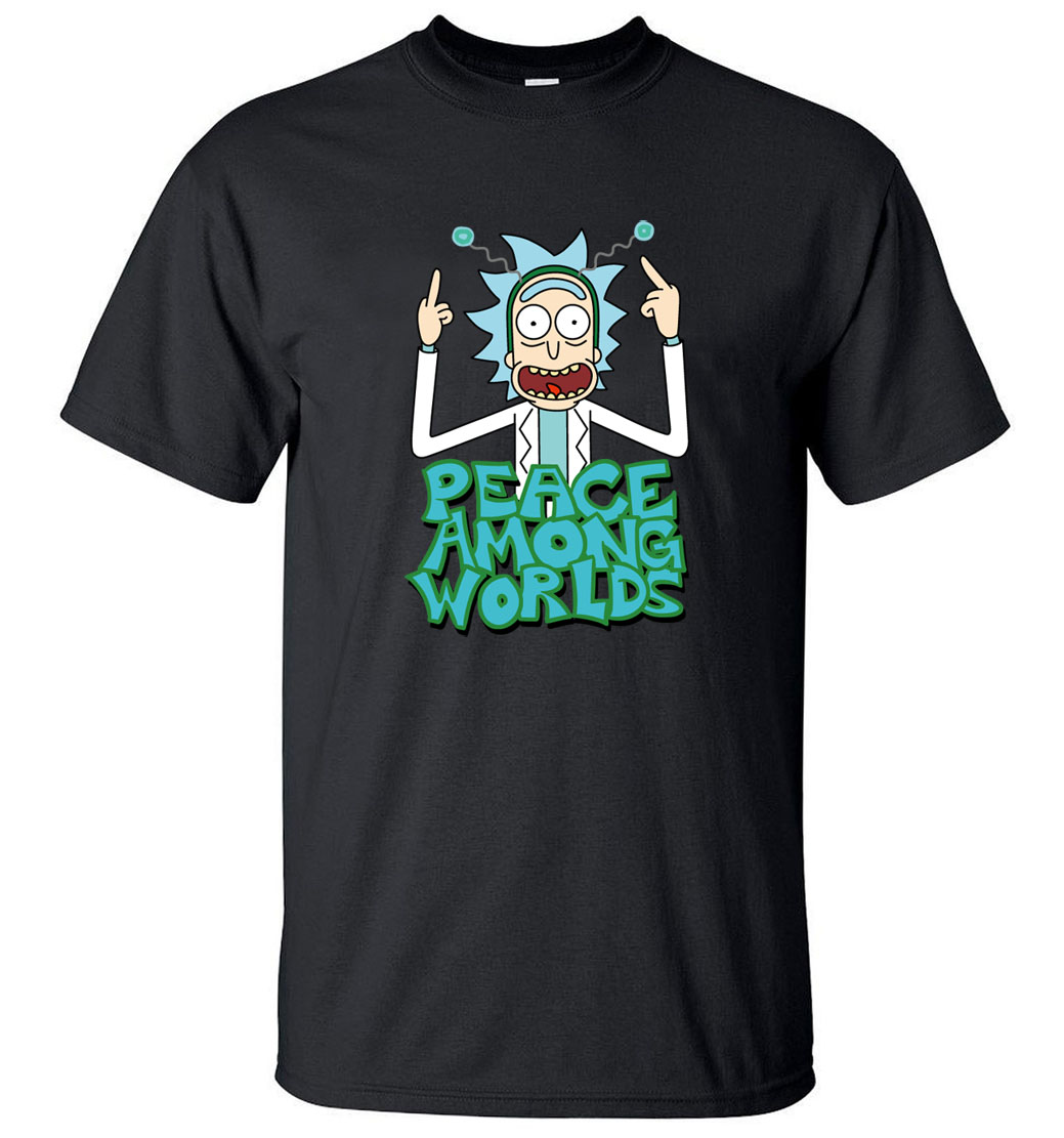 HAMPSON LANQE  Rick and Morty Peace Among Worlds Funny Men T Shirts 2019 Summer Science T Shirt 100% Cotton Men