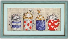 Cats hide in the cups cross stitch kit 14ct 11ct count print light grey canvas cotton floss embroidery DIY handmade needlework(China)