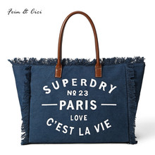 beach bag canvas letter totes bag jumbo large big tassel bag women shopping bags handbag summer 2017 new high quality dark blue(China)