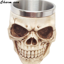 The New Skull Head Cup Stainless Steel Gift Mug Cup Child Resin Process Vintage Home Decor