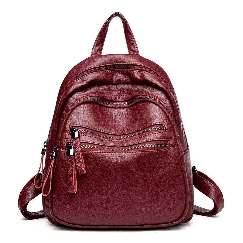 Fashion Soft Leather Women Backpack Black Backpacks For Teenage Girls School Bags Women Bag Mochila Feminina Rucksack Travel Bag<br>