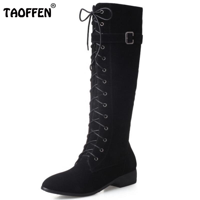 New Fashion Woman Round Toe Flat Knee Boots Women Stylish Lace Up Knight Boot Ladies Suede Leather Shoes Footwear Size 33-43(China)