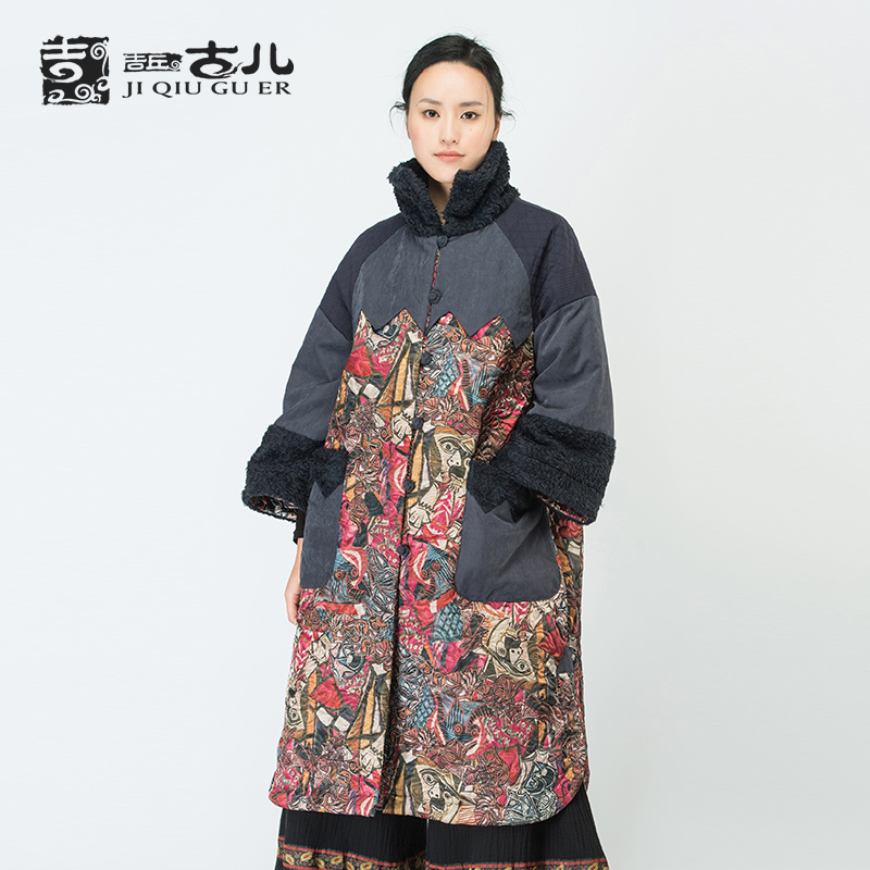Jiqiuguer Retro Long Thick Printed Cotton Coat For Women Chinese Style Ladies Cotton Jackect With Stand-up Fur Collar G164Y034Одежда и ак�е��уары<br><br><br>Aliexpress