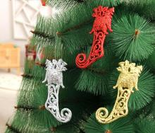 3pcs 14x6cm Glitter Powder Boots Pendant ornament For Christmas Party Tree Venun Hanging Decoration