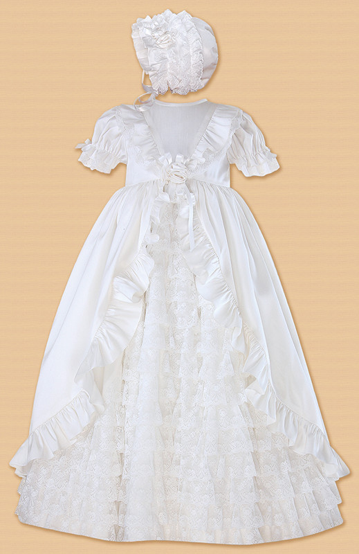 2016 Sheer New Baby Girl Christening Dress Princess Baby Boy Baptism Lace Dress Ruched Robe 0-24month WITH BONNET<br><br>Aliexpress