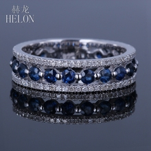 HELON Solid 14K White Gold Real Natural Diamond & Sapphires Jewelry Band Engagement Wedding Fine Ring Anniversary Gemstone Band