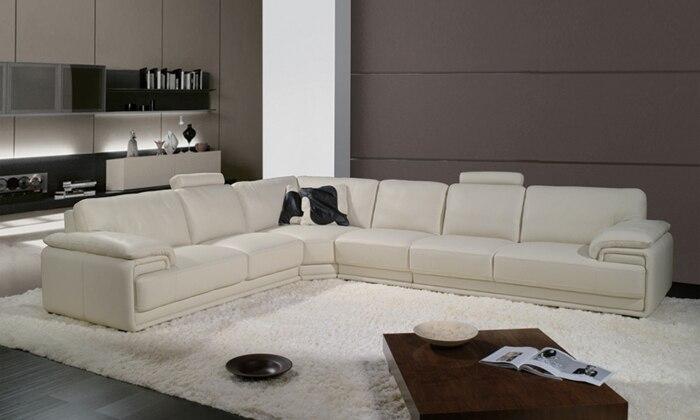 Free Shipping French Style Furniture, 2013 Latest Modern Design Large L  Shaped Genuine Leather Corner Sofa Free Shipping LA097