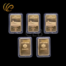 Wholesale Die Bismarck Gold Bar Cross Back Design Deutsche Fake Gold Bars with Plastic Case for Souvenirs and Home Decor