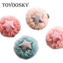 TOYOOSKY 10Pcs/Lot Cotton Star Lace New Floral Hair Clip Kids Baby Children Barrette Hair Ornaments Accessories(China)