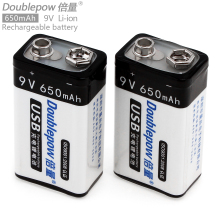 2pcs! Doublepow 650mAh 9V LSD Li-ion Rechargeable Battery USB Charging with Micro Charging Interface for Microphone Instrument