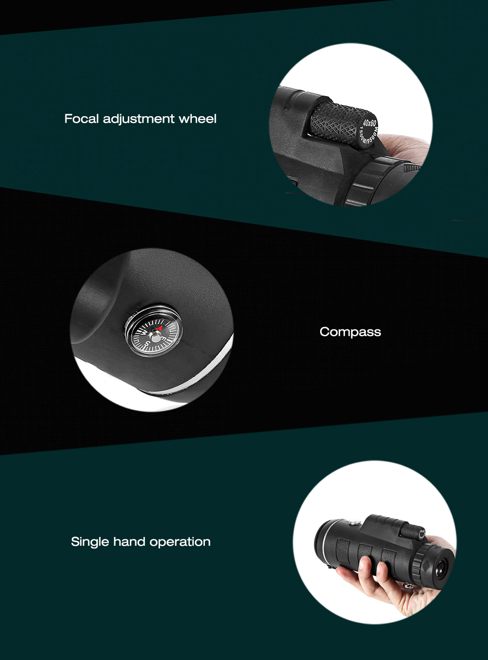 Telefoni külge kinnitatav kompassiga teleskoop