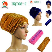 Beauty design African turban gele beads and sequins Solid Velvet turban 4colors african headtie soft african scraf Hot sale.(China)