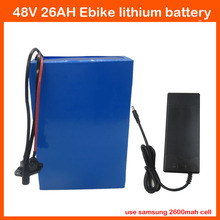 48V 1000W Electric Bicycle battery 48V 26AH Lithium Scooter Battery Use for Samsung 18650 cell with 54.6V 2A Charger 30A BMS
