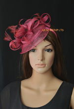 NEW Wine pink Sinamay fascinator hat for wedding,kentucky derby,ascot races,melbourne cup.FREE SHIPPING(China)