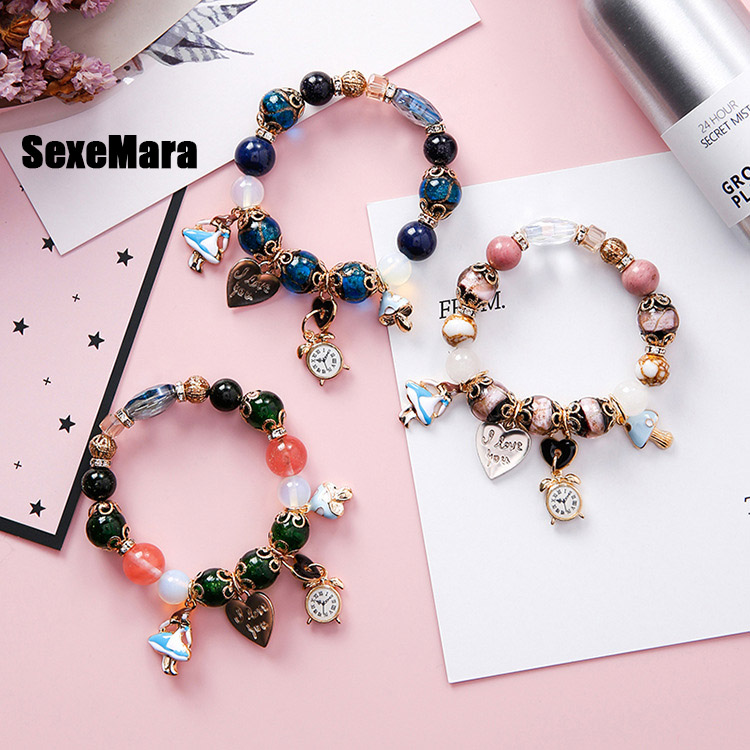 Bohemian folk style girl clock love letter lock colorful beads bracelet