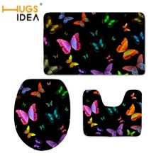 HUGSIDEA WC Accessories 3D Butterfly Printing Toilet Seat Cover Mat Slip Resistance Carpet Warmer Soft Bathroom Home Hotel Decor