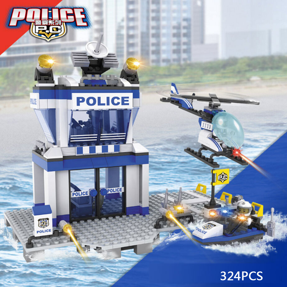 Super Water police command center station building block policeman helicopter boat bricks compatible legoeinglys.city toys<br><br>Aliexpress
