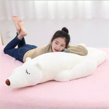 55CM One Piece Polar Bear Soft Pillow Plush Sleeping Toy Lovely White Lying Bears PP Cotton Stuffed Kids Toys Friends Presents
