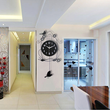 A red fashion large bedroom modern minimalist living room swing clock watch European pastoral silent clock watches Decoration Ar(China)